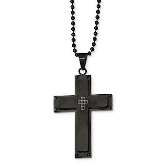 Stainless Steel Engravable Brushed Black Ip plated Black CZ Cubic Zirconia Simulated Diamond Religious Faith Cross Neckl