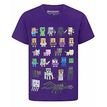 Minecraft Boys T-shirt Sprites Characters Short Sleeve Purple Top Kids Girls