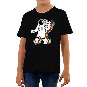 Reality glitch funky spaceman kids t-shirt