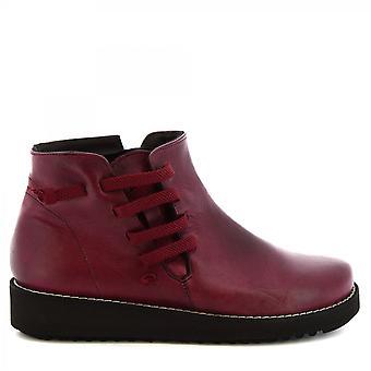 Leonardo Shoes Women's handmade wedges ankle boots burgundy leather side zip