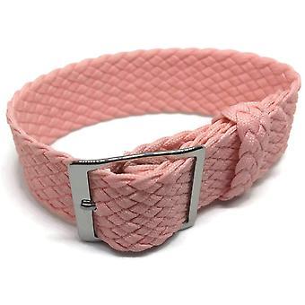 Perlon Armband rosa 20mm mit polierter Edelstahlschnalle