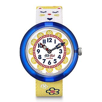 Flik Flak Fbnp114 Jumping Cat Blue & Yellow Textile Watch