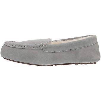 Amazon Essentials Women's Leather Moccasin Slipper, Light Grey, 8 M US