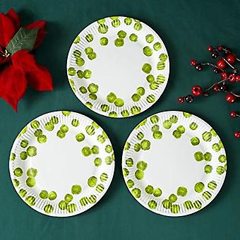 Botanical Sprout Round Paper Party Christmas Plates x 8