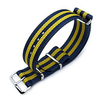 Strapcode n.a.t.o watch strap miltat 18mm, 20mm or 22mm g10 military watch strap ballistic nylon armband, polished - double yellow and blue