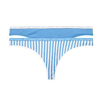 Calvin Klein 2 Pack CK One Cotton Thong - Azure/Marching Stripe