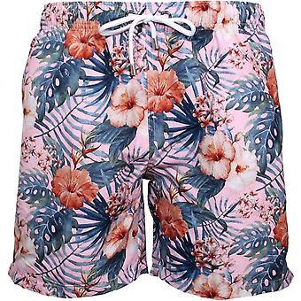 Franks Hawaiian Flowers Print Swim Shorts, Maui Pink