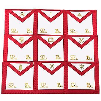 Masonic scottish rite officers apron aasr (reaa) - set of 9