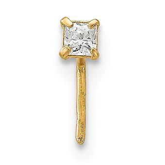 14k 2,5 mm Platz CZ Zirkonia simuliert Diamant Nase Ohrstecker Schmuck Geschenke für Frauen