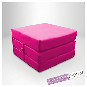 Ready Steady Bed | Water Resistant Fold Out Z Bed Cube Mattress with Fastening (Pink)