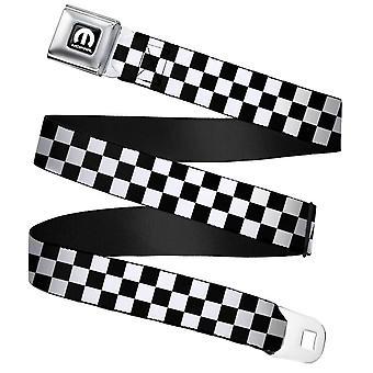 Mopar Checker Black and White Webbing Seatbelt Buckle Belt