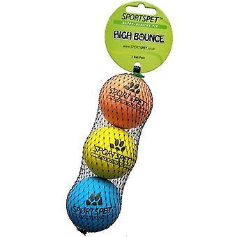 Sportspet høy Bounce ball (pakke med 3)