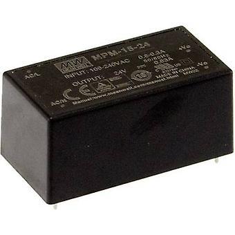 Mittelwert MPM-15-24 AC/DC Netzteil (Druck) 24 V DC 0.63 A 15.1 W
