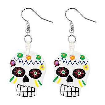 Day of the Dead Skull Wood Drop Earrings