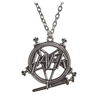 Slayer halsband hänge Pentagram bandet Logo nya officiella alkemi Silver