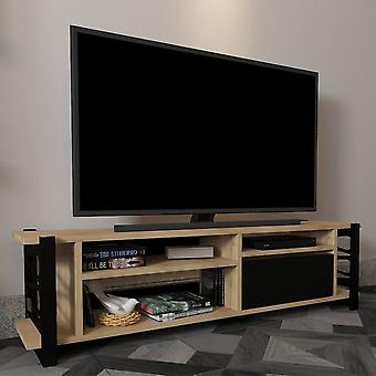 Mobile Porta TV Loop Color Rovere, Nero in Truciolare Melaminico, Metallo 140x35x37,8 cm