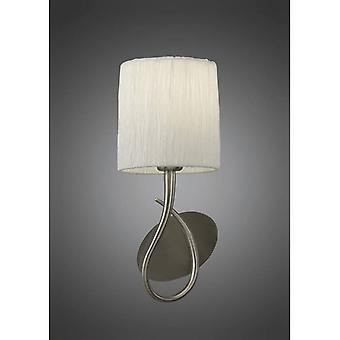 Lua Wall Light With Switch 1 Bulb E27, Satin Nickel With White Lampshade