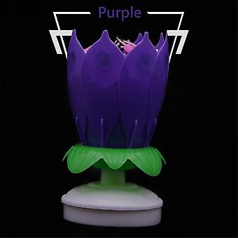 Double Lotus Music Birthday Candle Blossom  Rotating Lotus Candle Birthday Cake Candle