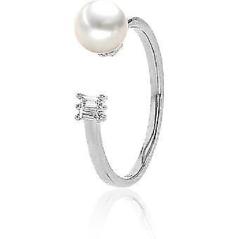 Luna-Pearls Bead Ring Akoyaperle 6-6.5 mm 585 White Gold 2 Diamonds 0.05 ct. Ring size 56 (17.8mm) 3001181-004