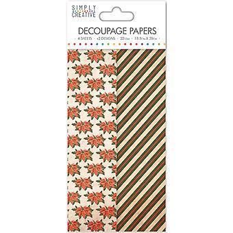 Yksinkertaisesti Luova Decoupage Paperi 18.8cmX35cm 4/Pkg-Poinsettia