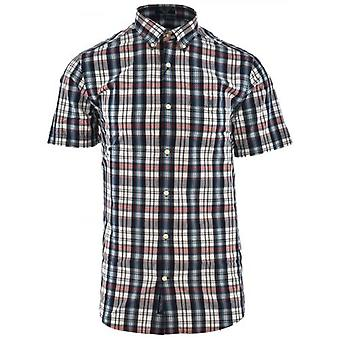 GANT Blue & Red Short Sleeve Multi Check Shirt
