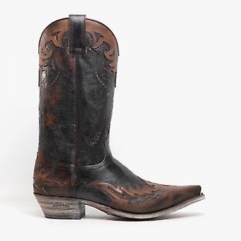 Sendra 9669 Mens Leather Mid Calf Cowboy Boots Flota Tan