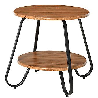 HOMCOM Retro Two-Tier Coffee Table w/ Curved Metal Frame Adjustable Feet Oak-Effect Round Tops Side End Home Furniture Stylish Living Room