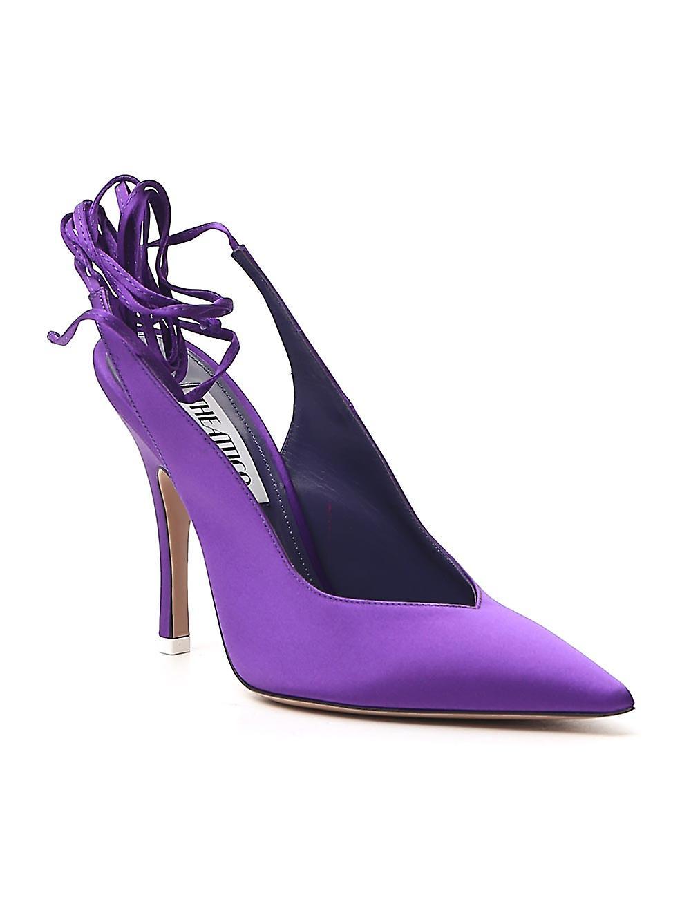 Attico 192ws032v015012 Women's Purple Satin Pumps