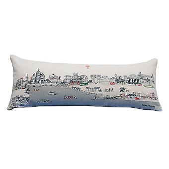 Spura Home Rome Printed Skyline Embroidered Wool Cushion Day/Night Setting