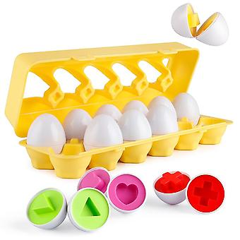 Coogam Matching Eggs 12 Pcs Set- Color & Shape Recoginition Sorter Puzzle For Easter Bingo Game Gift For 2 3 4 Years Old Toddlers