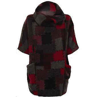 Ladies Cowl Turtle Neck Patchwork Check Fleece Wrap Short Poncho Jumper
