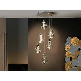 Integrierte LED 6 Licht Kristall Cluster Drop Deckenanhänger Chrom