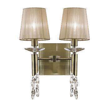 Wandlamp geschakeld 2+2 Light E14+G9, antiek messing met zachte bronzen tinten en helder kristal