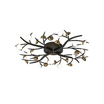 Luminosa Beleuchtung - 28 Licht Semi-Flush, 28 x 3W LED, 3000K, 4400lm, schwarz, Antik Messing