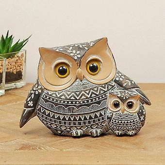 Widdop & Co. African Style Ornate Owl & Owlet 11cm Figurine