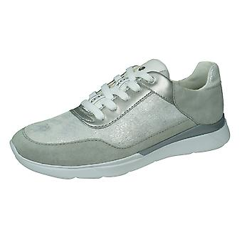 Geox D Hiver A Womens Leather Trainers - Argent