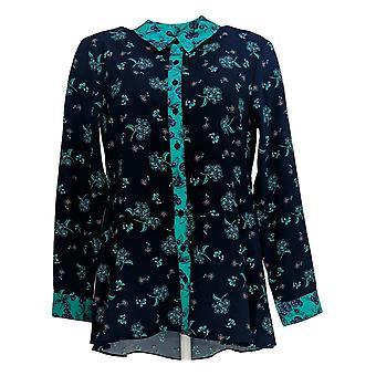Isaac Mizrahi Live! Women's Top Woven Floral Printed Blouse Blue A367689
