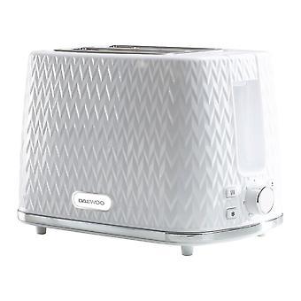 Daewoo White Argyle 2 Tranche Toaster