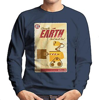 Pixar Wall E Cleaning The Earth One Cube At A Time Men's Sweatshirt