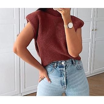 Women  With Shoulder Pads Knitted Pullover Autumn Winter Jumper Casual Tops