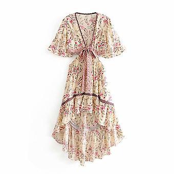 Women Floral Print Short Sleeve Bow Bohemian Rayon Cotton Dresses