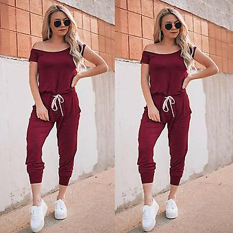 Women's Casual Off Shoulder Jumpsuits Bodycon Short Sleeve Jumpsuit Romper