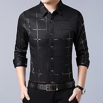 Casual Spring Luksus Plaid Langærmet, Slim Fit, Mænd Shirt, Streetwear Social