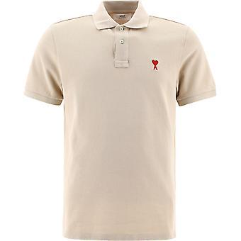 Ami E21hj207760250 Men'camisa polo de algodão bege