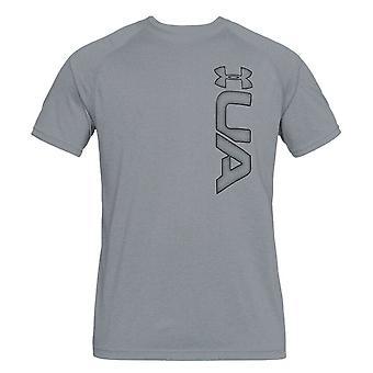 Under Armour Mens Tech T-Shirt Graphic Logo Casual Top Grey 1311271 035