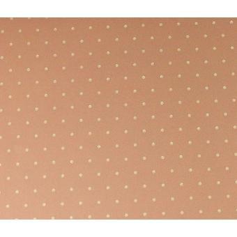 Dolls House Miniature Print Pasted Wallpaper Polka Dot Sandy Pink