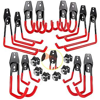 3-H Garage Hooks, Heavy Duty Ladder Hooks 12 Pack, Tool Hangers for Shed Garage Wall
