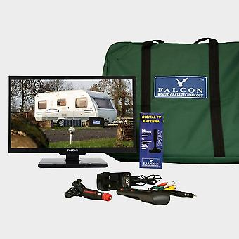 "New Falcon TV Plus Pack 24"" LED, 12V & Mains with Freeview Antenna White"