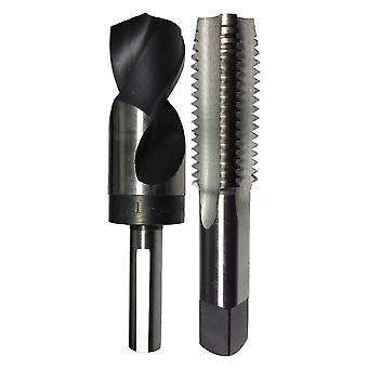 """1-1/8""""-7 Hss Plug Tap And Matching 63/64"""" Hss 1/2"""" Shank Drill Bit In Plastic Pouch."""