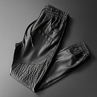 Leather Pants, Elastic Waist Jogger, Motorcycle Pocket, Faux Trousers